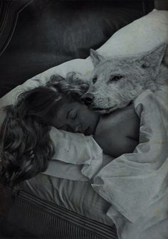 Goodnight my Wolf | Spirit Animal Art | Girl & Wolf | Sleeping | Fantasy | Black and White Photography | Wolves | Pup | Forest Animals