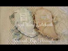 Angel wing Notebook and Journal flip through Envelope Book, Journal Inspiration, Journal Ideas, Opening An Etsy Shop, Handmade Angels, Glue Book, Fabric Journals, Craft Corner, Book Journal