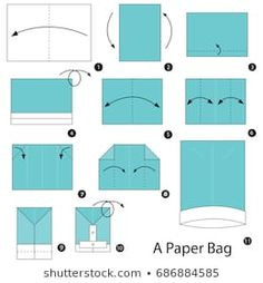 Stock Photo and Image Portfolio by tofang Origami Gift Bag, Origami Shirt, Cute Origami, How To Make Origami, Useful Origami, Diy Origami, Origami Paper, Paper Bag Crafts, Paper Gift Bags