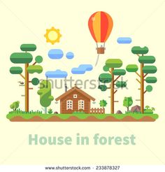 House in forest. Vector flat illustration - stock vector