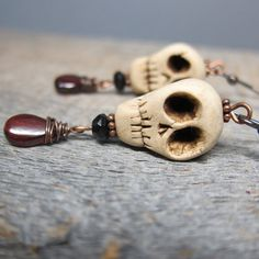 Dia de los Muertos - clay skull earrings