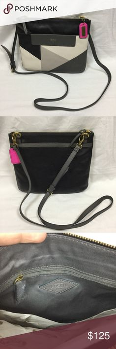 Fossil Amanda Crossbody Pink Gray Black NWT Brand new with tags. 100% authentic. Retail $198. Zipper closure across top. Front and back exterior pockets. Zippered interior pocket. Two open interior pockets. Brass hardware. Removable shoulder strap. Dust bag included! Fossil Bags Crossbody Bags