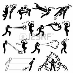 Kungfu Fighter Super Human Special Power Mutant Stick Figure Pictogram Icon Stock Photo - 18911143