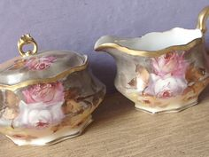 Antique Coiffe Limoges France porcelain creamer and sugar bowl set, hand painted roses, gold creamer antique sugar bowl, Gift for bride by ShoponSherman on Etsy https://www.etsy.com/listing/66219139/antique-coiffe-limoges-france-porcelain