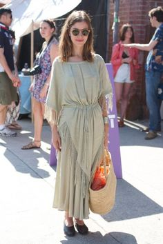 Vintage dress made modern Street-Style Snaps From L.A.'s Chicest Craft Doyennes At The Echo Park Craft Fair #Refinery29