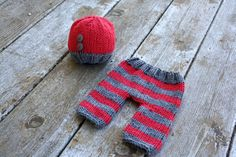 Newborn knit button beanie hat and knit pant by SunnybeeeDesigns, $48.00