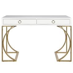 Worlds Away Vanessa White Lacquer Desk with Brass Base