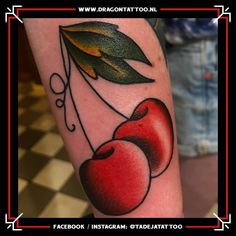 Traditional cherry Tattoo. On the forearm.  Designed and Tattooed by: Tadeja Dragon Tattoo Cherry Tattoos, Tattoo Portfolio, First Tattoo, Color Tattoo, Dragon, Traditional, How To Make, Dragons, Color Tattoos