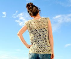 """""""This lovely broomstick lace top works up with worsted weight yarn and a size H crochet hook.  Pictures will help guide you as you crochet. This lovely, trendy top is perfect for warmer weather!"""""""