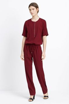 The trendiest of work jumpsuits: The front-zipper detailing gives the neckline a contemporary feel, while a drawstring waist and contrast trim down the leg add an on-point athleisure twist. ...