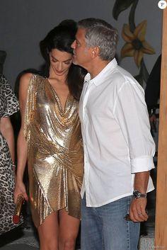 """George Clooney et sa femme Amal Alamuddin Clooney - Soirée de lancement de la marque de téquila """"Casamigos"""" à Ibiza, le 23 août 2015."""