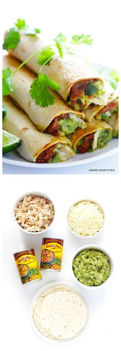 5-Ingredient Chicken Guacamole Baked Taquitos -- made easy in the oven, and so delicious! #healthy #chickenrecipes #taquitos