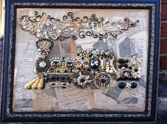 a train from the past...the matting is 1924 newspaper ...the smoke is old initial pins and the train is vintage jewelry and sparkle