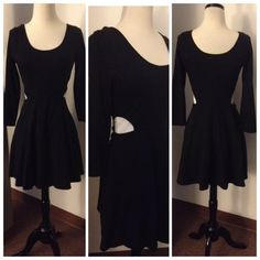"""BLACK SLIT SIDES DRESS (NWOT) Black peplum dress with slits on both sides. Small elastic waist. Pullover. Quarter inch sleeves that stop at elbow. 32"""" inches long. Dress has some dress stretch. Junior size Large. Made of cotton and spandex. L0ter Dresses"""