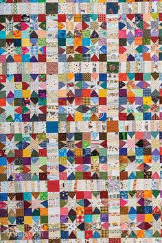 "Wonky Wishes Star-Quilt Pattern by Bonnie K. Hunter : ""My love of scrap quilts goes back as far as I can remember!""Wonky Wishes Star-Quilt Pattern by Bonnie K. Hunter : ""My love of scrap quilts goes back as far as I can remember! Scrap Quilt Patterns, Beginner Quilt Patterns, Quilting For Beginners, Quilting Tutorials, Applique Quilts, Star Patterns, Quilting Ideas, Star Quilt Blocks, Star Quilts"