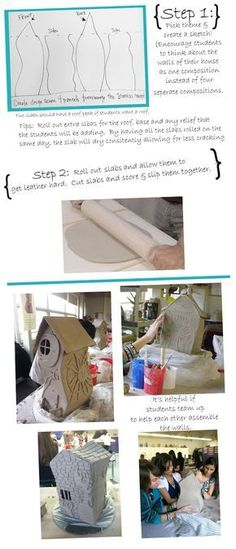 High School Ceramics Lesson // David Stabley inspired houses Sculpture Lessons, Sculpture Projects, Ceramics Projects, Clay Projects, Ceramics Ideas, Slab Ceramics, Sculpture Art, Pottery Houses, Ceramic Houses