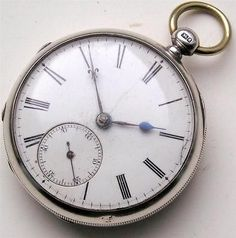 d3ccd2fe465 1875 CHESTER SILVER FUSEE CHAIN DRIVEN POCKET WATCH WORKING KEY WIND  ANTIQUE fob