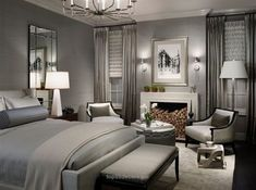 Gray master bedroom design ideas soft gray blue in the master bedroom with wood furniture interior . Master Bedroom Interior, Modern Master Bedroom, Bedroom Sets, Bedroom Colors, Bedroom Decor, Girls Bedroom, Master Bedrooms, Minimalist Bedroom, White Bedroom