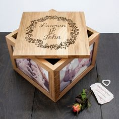 Couples' Oak Photo Keepsake Box with Floral Frame - Anniversary Gift - Valentines Gift by KiddiClub on Etsy