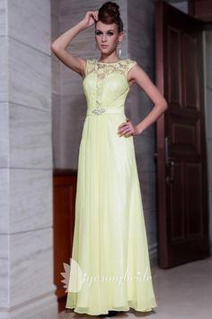 lace boat neck cap sleeve a-line long formal dress