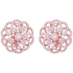 Rose Gold Micro Pave Floral Earrings ($8,000) ❤ liked on Polyvore featuring jewelry, earrings, red, round earrings, red earrings, floral earrings, pink gold earrings and floral jewelry