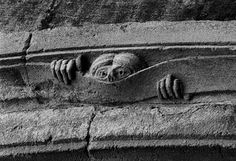 """Frank Horvat Romanesque Carved Bas-Relief, Known Locally as """"Le Curieux,"""" Conques, Rouergue, France Romanesque Sculpture, Frank Horvat, Art Roman, Geometric Sculpture, Masonry Wall, Chapelle, Medieval Art, Statue, Green Man"""