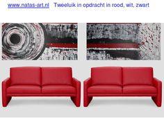 Schilderij in opdracht  voor een bedrijf in rood, wit zwart