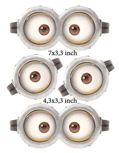 """INSTANT DOWNLOAD D Minion Eyes 7"""" x 3,3"""" and 4,3x3,3 inch"""