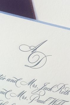 57 monogrammed stationary smythson of bond st hitched ariel and daniels charcoal engraved wedding invitation featured a silver beveled edge and an iridescent eggplant ribbon backer to hold all the extra cards stopboris Choice Image