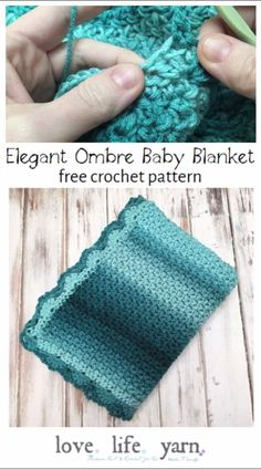Crochet Afghans 749497562968700039 - I love this simple and elegant baby blanket! The Ombre yarn works up so well with the mini bean stitch and the lacy border really makes it. A wonderful gift for any mom-to-be or little in your life! Crochet Baby Blanket Free Pattern, Free Crochet, Knit Crochet, Crocheted Baby Afghans, Beginner Crochet, Crochet Dolls, Crochet Simple, Simple Crochet Blanket, Chunky Blanket