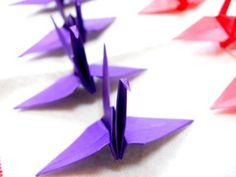 Purple origami cranes