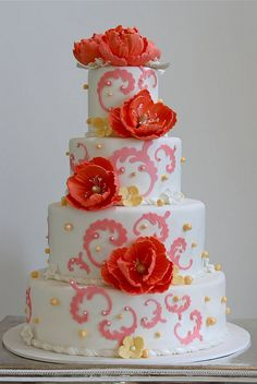 Peony wedding coral pink cake by The Couture Cakery, via Flickr