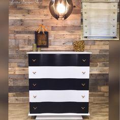 Painted Furniture - Furniture Redesign by LauraDesignsShop White Painted Furniture, Furniture Design, Silver Furniture, Furniture Makeover, Painted Furniture, Modern Dresser, Diy Dresser, Black And White Furniture, Recycled Furniture