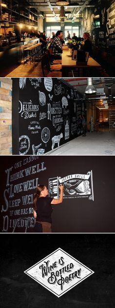 Chalkboard art mural 45 m2 for Restaurant Stipplein - Chalkboard.nl