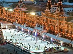 Skating rink on Red Square in front of Gum