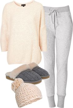 Eleanor inspired lazy day outfit pt. 2! Cotton sweater / Acne drawstring pants / UGG Australia knit slipper, $135 / Pom hat, $7.78 #uggs