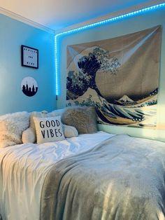 Beach Room Decor, Beachy Room, Cute Bedroom Decor, Room Design Bedroom, Room Ideas Bedroom, Bedroom Inspo, Teen Beach Room, Girl Room Decor, Blue Room Decor