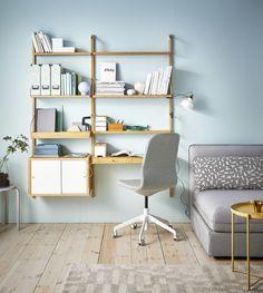 Home office and workspace ideas - IKEA Home Decor Shelves, Desk Shelves, Wall Mounted Shelves, Shelving, Desk In Living Room, Home And Living, Svalnäs Ikea, Ikea Usa, Desks Ikea
