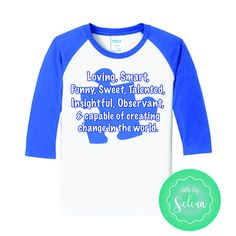 Autism Speaks T Shirt Autism Shirt Autistic Children Gifts For Kids Clothes Autism by GiftsBySelena on Etsy https://www.etsy.com/listing/519860451/autism-speaks-t-shirt-autism-shirt