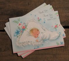 Vintage Glittery Baby Thank You Cards  Set of 5  by bostonbaglady, $5.00