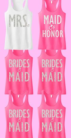 "Cute #Bridal Party tank tops with glitter print! Great for the #Bride and #Bridesmaids. ""7"" tank tops for only $148.95, Free MRS. tote bag included! Click here to buy https://www.etsy.com/listing/188899826/bridal-wedding-7-tank-tops-15-off-bundle?ref=shop_home_active_21"