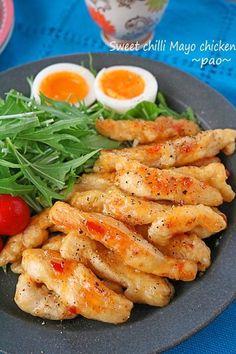 こんにちは。ぱおです。 今日はお弁当にもぴったりの 鶏むね肉料理~♪ 鶏むね肉の下ごしらえと切り方で 驚くほど柔らか! 味付けはスイートチリソースとマヨネーズで簡単! フライパンでパパっと出来る スティックチキンです~!! Rib Recipes, Asian Recipes, Sushi Recipes, Chicken Recipes, Turkey Recipes, Japanese Food Recipes, Lasagna Recipes, Icing Recipes, Carrot Recipes