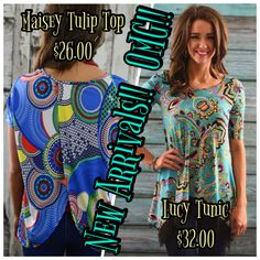 It's new arrival time!!  The Lucy tunic is my absolute fav!!  I love that print!!  Enter code ZZS16 at checkout for free shipping  www.zigzagstripe.com