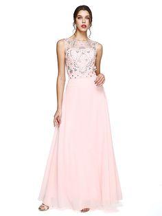 TS Couture® Evento Formal Vestido - Brilho & Glitter / Costas Lindas Linha A Decorado com Bijuteria Longo Chiffon comMiçangas / Detalhes - EUR €117.59