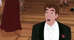 His face when he sees Anya in her gown is the face you want your man to have every time you get dressed up.