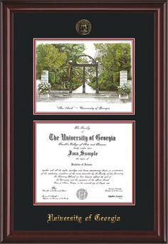 University of Georgia Diploma Frame with hardwood moulding, Official UGA Seal and name embossing, and campus landmark watercolor - Black on Red Mat.  Awesome graduation gift for any Bulldog!