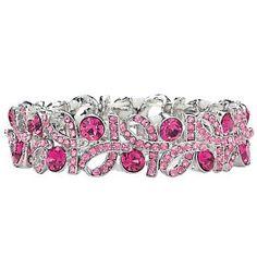 Crystal Pink Ribbon Bracelet
