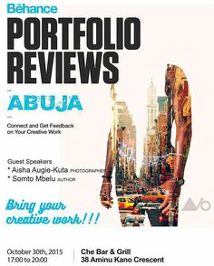 @studiotwodesigns is hosting a Behance portfolio review in Abuja.  Come share your work showcase your creation interact with like minds connect.  Date: 30th October 2015. Time: 5:00 PM Venue: Che Bar & Grill 38 Aminu Kano crescent Abuja #BehanceReviews #BehanceReviewsAbj