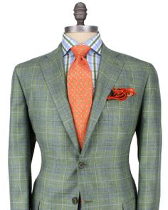 Kiton - Green with Slate Plaid Sportcoat