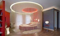 Зонирование спальни при помощи штор